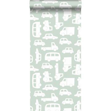papel pintado coches menta verde de ESTA home