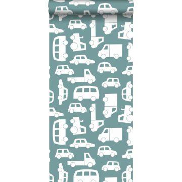 papel pintado coches azul agrisado de ESTA home