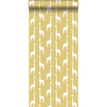 papel pintado jirafas amarillo ocre de ESTA home