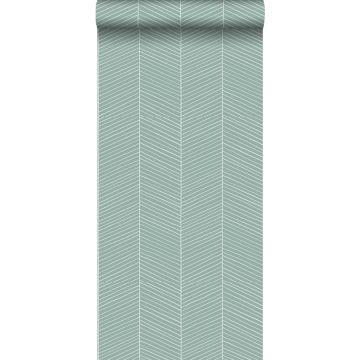 papel pintado chevron verde menta agrisado de ESTA home