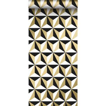 papel pintado motivo gráfico oro brillante claro, blanco y negro de ESTA home