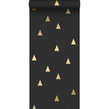 papel pintado triángulos gráficos negro y oro de ESTA home
