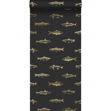 papel pintado dibujo a la pluma de peces negro y oro de ESTA home