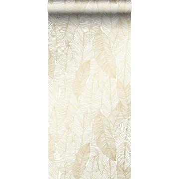 papel pintado hojas dibujadas blanco y oro de ESTA home