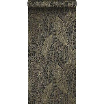 papel pintado hojas dibujadas negro y oro de ESTA home