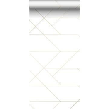 papel pintado líneas gráficas blanco y oro de ESTA home