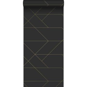 papel pintado líneas gráficas negro y oro de ESTA home