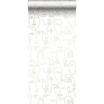 papel pintado caras blanco y oro brillante claro de ESTA home