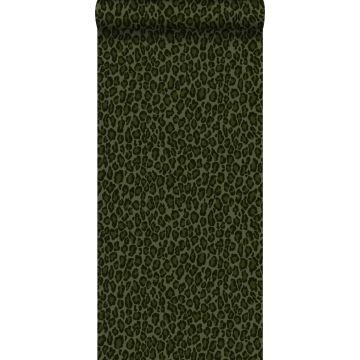 papel pintado piel de leopardo verde oscuro de ESTA home