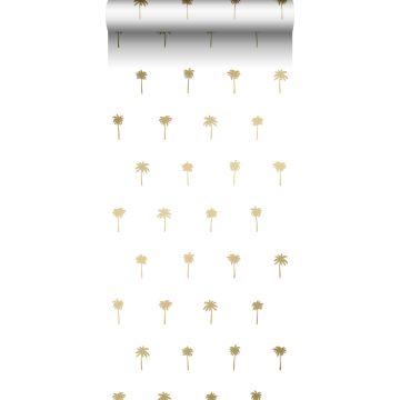 papel pintado palmeras blanco y oro de ESTA home