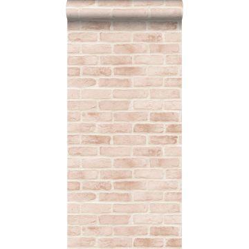 papel pintado pared de ladrillos rosa melocotón claro de ESTA home