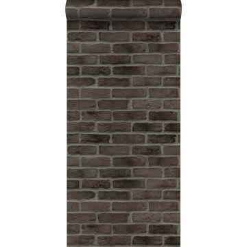papel pintado pared de ladrillos marrón oscuro de ESTA home