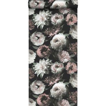papel pintado flores negro, blanco y rosa suave de ESTA home