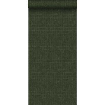 papel pintado piel de cocodrilo verde oliva agrisado de ESTA home