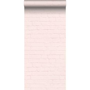 papel pintado pared de ladrillos rosa suave de ESTA home