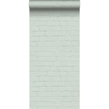 papel pintado pared de ladrillos menta verde de ESTA home