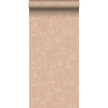 papel pintado caras rosa melocotón y blanco de ESTA home