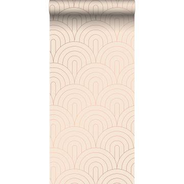 papel pintado arte deco rosa melocotón claro y oro rosa de ESTA home