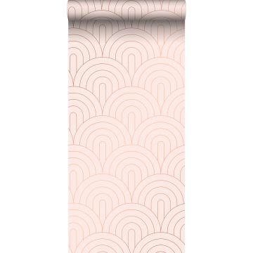 papel pintado arte deco rosa suave y oro rosa de ESTA home