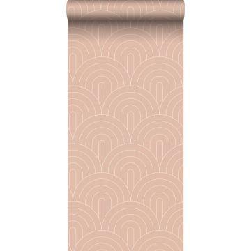 papel pintado arte deco rosa melocotón de ESTA home