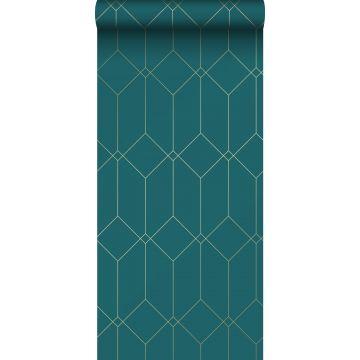 papel pintado arte deco oro, verde y azul de ESTA home