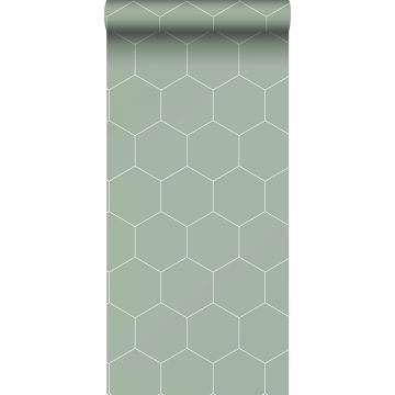 papel pintado hexágono verde grisáceo y blanco de ESTA home