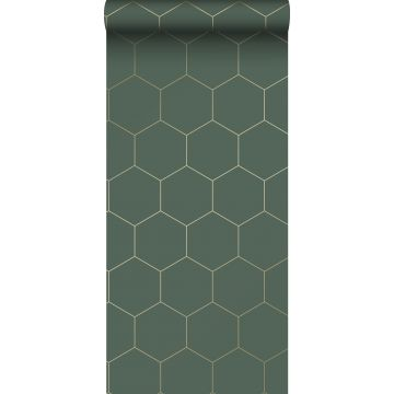 papel pintado con estampado hexagonal verde oscuro y oro de ESTA home