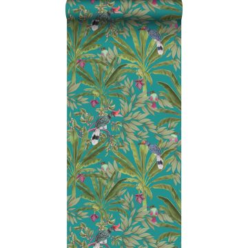 papel pintado hojas de la selva tropical y pájaros del paraíso azul petroleo y verde selva de ESTA home