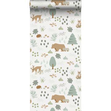 papel pintado bosque con animales del bosque blanco, verde y beige de ESTA home