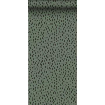 papel pintado puntos lunares verde grisáceo y negro de ESTA home