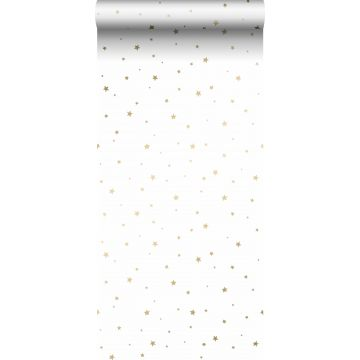 papel pintado pequeñas estrellas blanco y oro de ESTA home