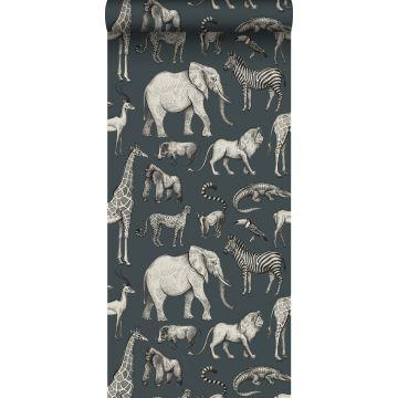 papel pintado animales de la selva azul agrisado y gris de ESTA home