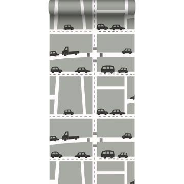 papel pintado coches gris, negro y blanco de ESTA home