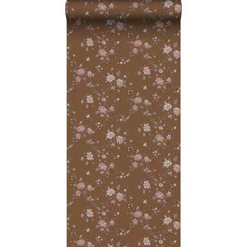 papel pintado flores marrón herrumbre y rosa de ESTA home