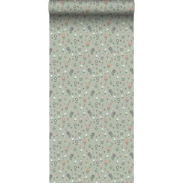 papel pintado flores verde grisáceo de ESTA home
