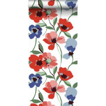 papel pintado amapolas rojo, azul y verde de ESTA home