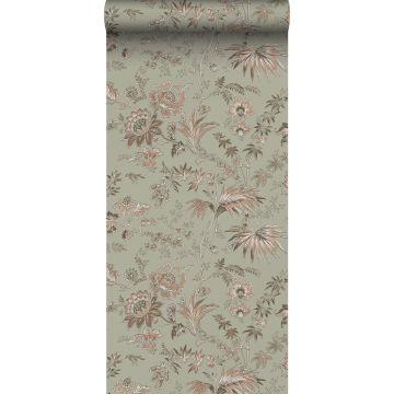 papel pintado flores vintage verde menta agrisado y rosa suave de ESTA home