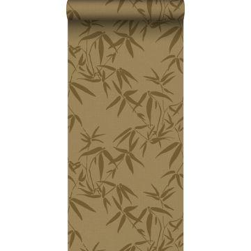 papel pintado hojas de bambú amarillo ocre de ESTA home