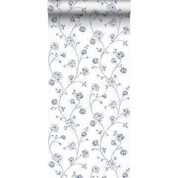 papel pintado rosas en tela de jouy blanco y azul de ESTA home