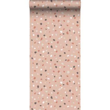 papel pintado terrazo rosa suave, blanco y gris de ESTA home