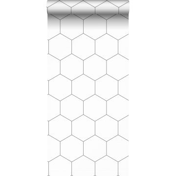papel pintado con estampado hexagonal blanco y negro de ESTA home