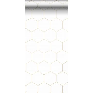 papel pintado hexágono blanco y oro de ESTA home