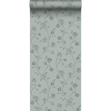 papel pintado rosas en tela de jouy verde grisáceo de ESTA home