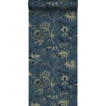 papel pintado flores vintage azul oscuro y verde oliva agrisado de ESTA home