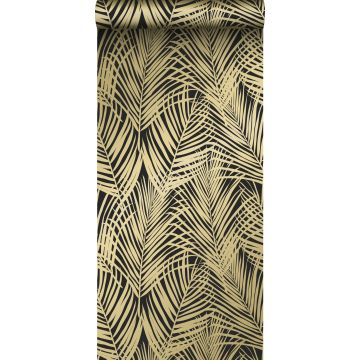 papel pintado hojas de palmera negro y oro de ESTA home