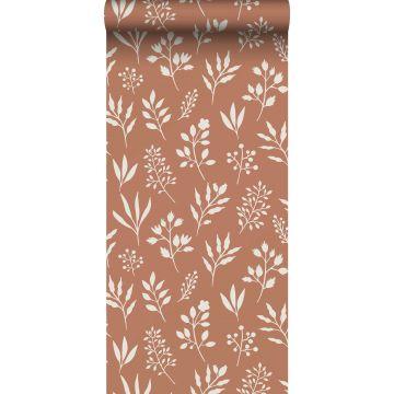 papel pintado diseño floral en estilo escandinavo rojo barro cocido y blanco de ESTA home