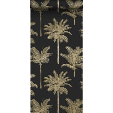 papel pintado palmeras negro y oro de ESTA home