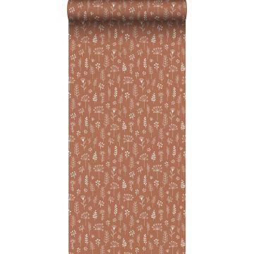 papel pintado diseño floral rojo barro cocido y blanco de ESTA home