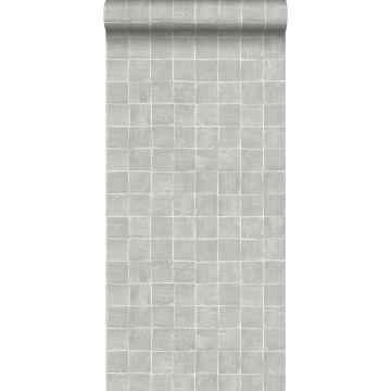 papel pintado motivo de azulejos gris de ESTA home