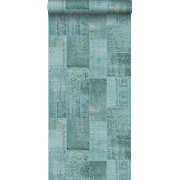 papel pintado patchwork kilim verde agua de ESTA home